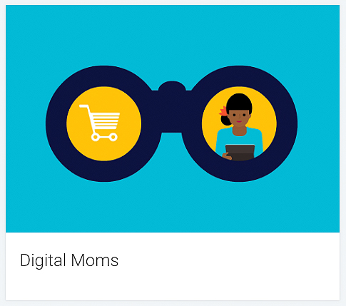 Target group: Digital Moms. The graphic shows a woman with a tablet and a shopping cart