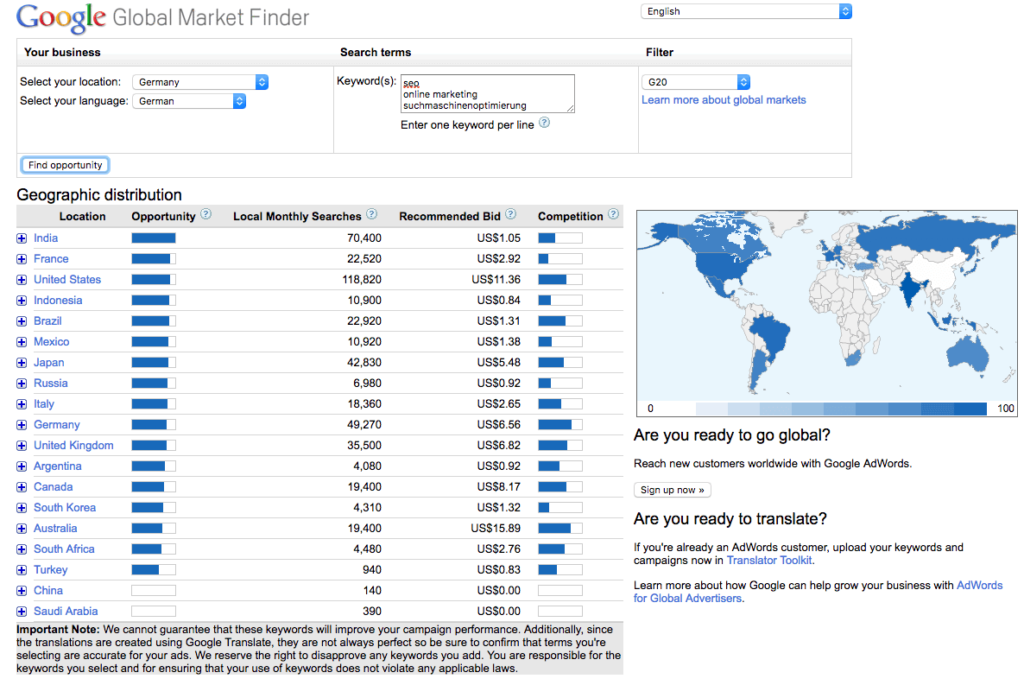 Googles Global Market Finder Tool shows exact search volume