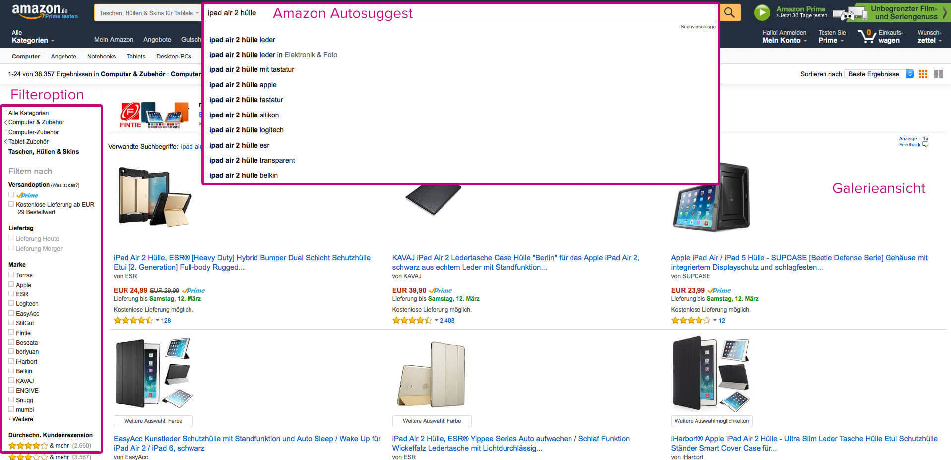 Screensho of Amazon Autosuggest usefull for Amazon SEO.