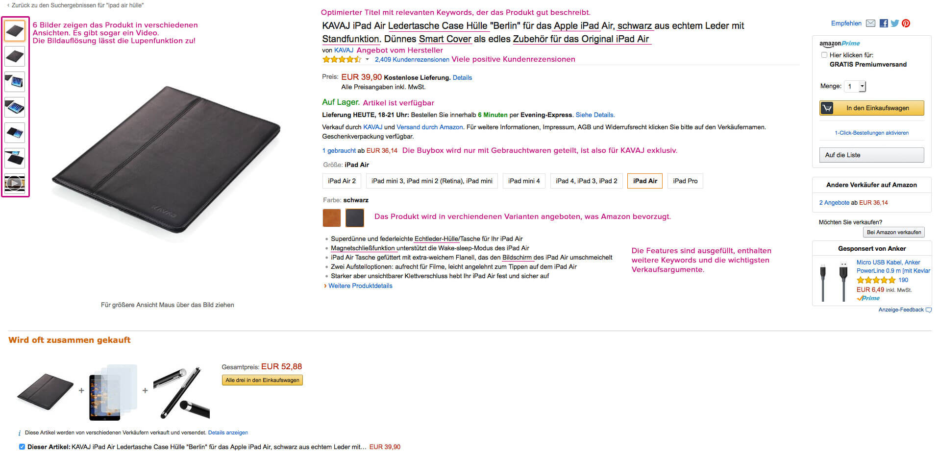 Amazon SEO - Screenshot of a product page by Kavaj in Amazon