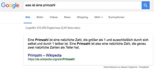 Google Screenshot einer Answerbox