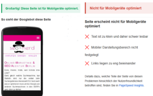 Testergebnisse des Googe Mobile Friendly Tests