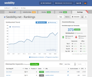 Screenshot des SEO-Tools Seobility