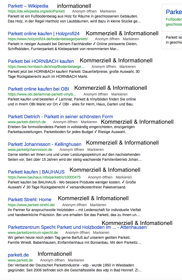 Keywords bewerten in der Keywordrecherche